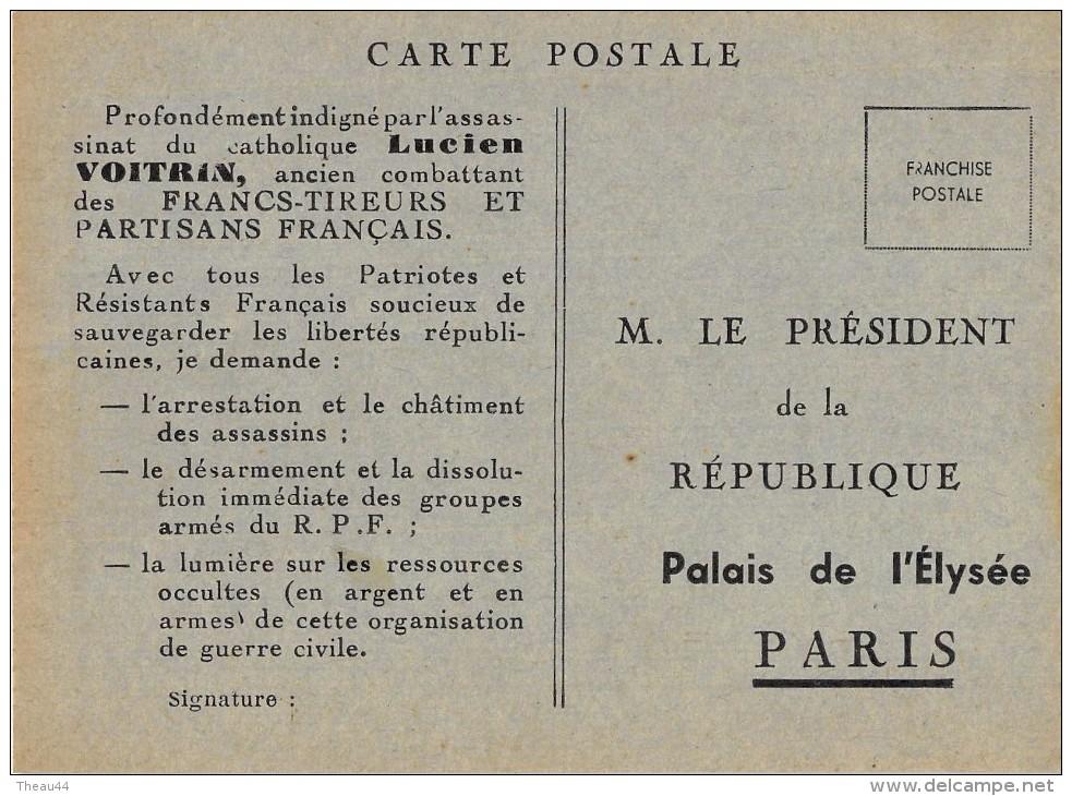 ¤¤   -  Carte Politique    -   LUCIEN VOITRIN Du Maquis De Chartreuse   -   Assassiné à GRENOBLE En 1948  -  ¤¤ - Personnages
