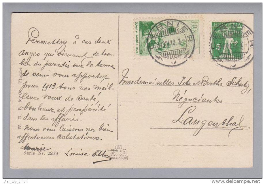 Schweiz Pro Juventute 1912-12-12 Cernier PJ-Vorläufer Französisch Auf AK - Lettres & Documents
