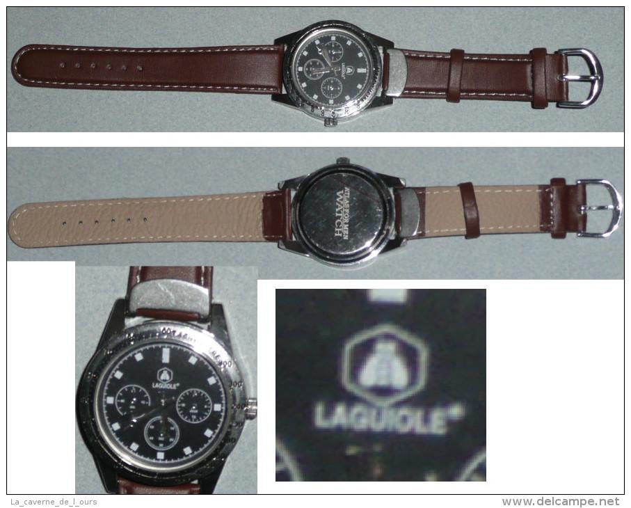Rare Montre à Quartz Publicitaire LAGUIOLE, ATLAS For Man Watch, Bracelet Cuir - Montres Publicitaires