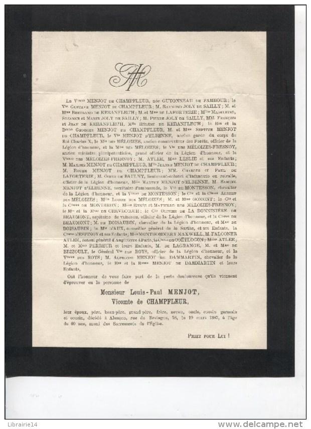 AVIS DE DECES - MONSIEUR LOUIS-PAUL MENJOT - VICOMTE DE CHAMPFLEUR - ALENCON - 1887 - Obituary Notices