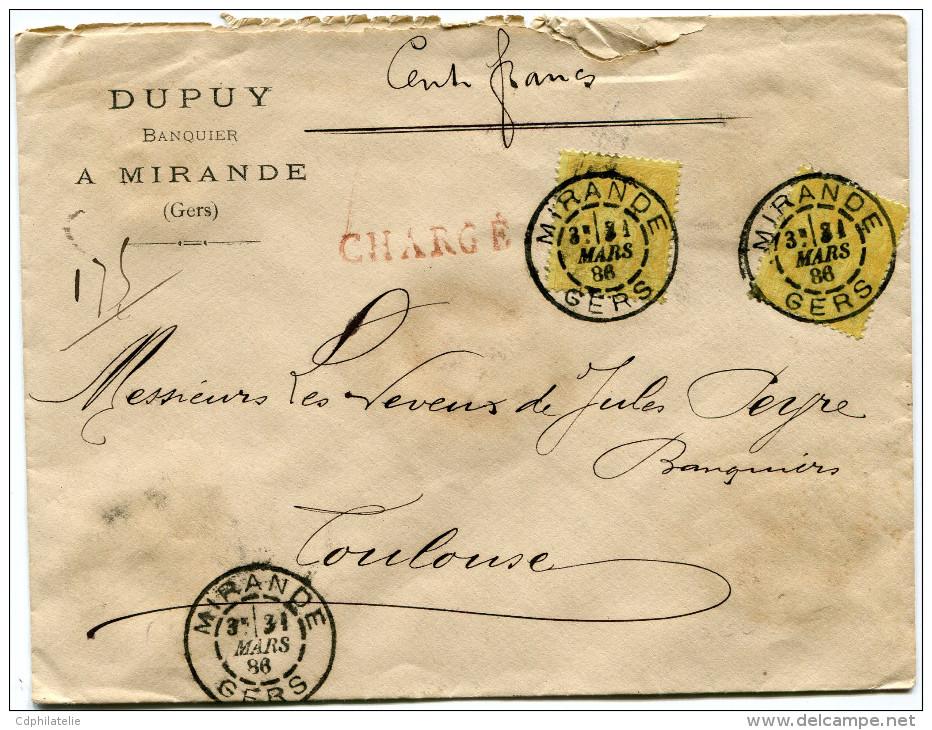 FRANCE LETTRE CHARGEE AFFRANCHIE AVEC DEUX N°92 DEPART MIRANDE 31 MARS 86 GERS POUR LA FRANCE - Marcophilie (Lettres)