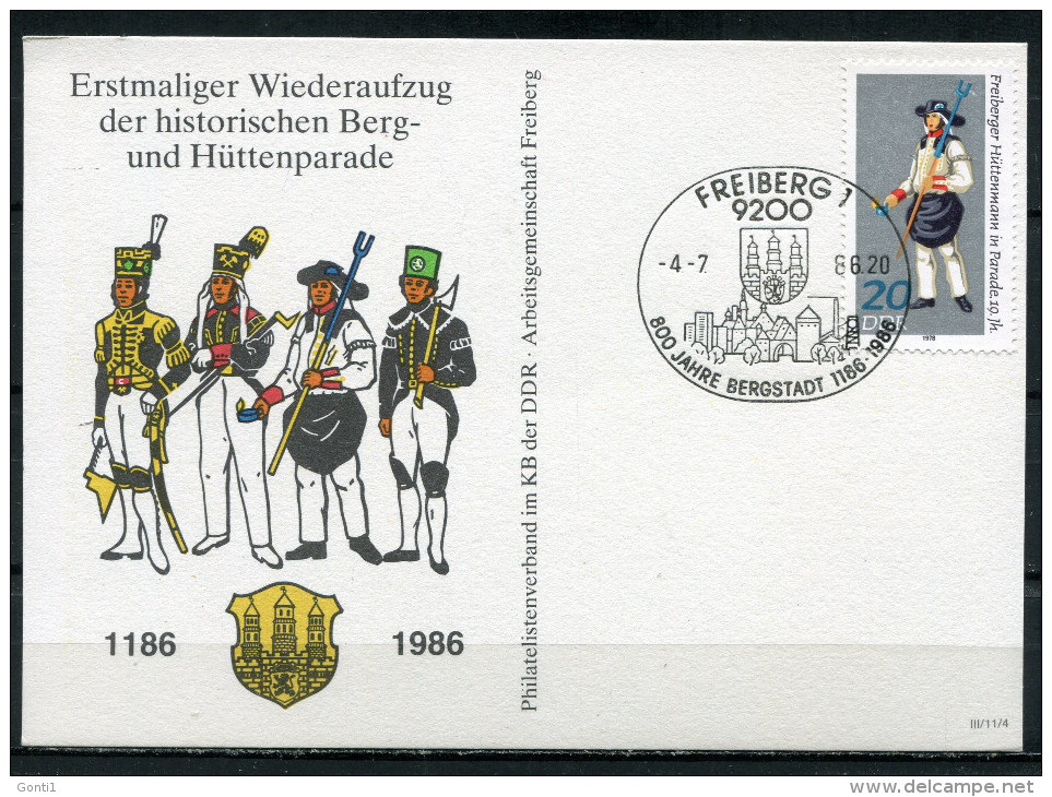 "DDR 1986 Sonderkarte Freiberg-Berg-Hüttenparade Mi.Nr.2319 U.SST""FREIBERG-800 Jahre Bergstadt,The Miner ""1 Beleg - Factories & Industries"