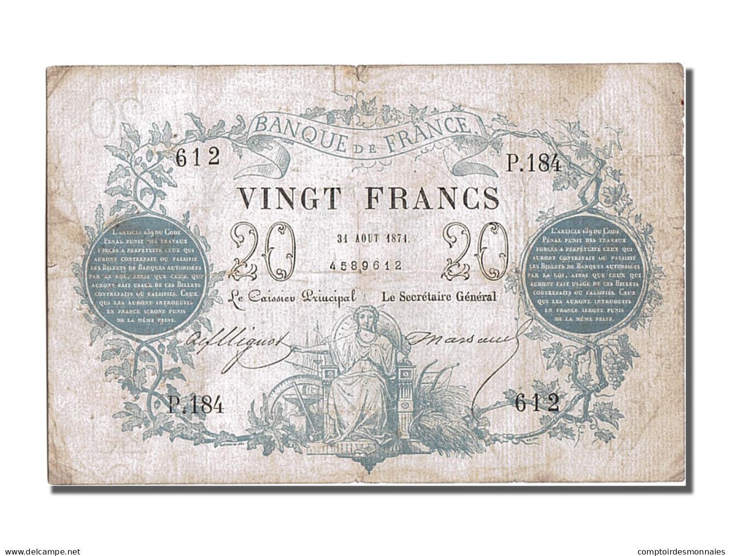 France, 20 Francs CHAZAL,1871, 1871-08-31, KM:55,... - ...-1889 Tijdens De XIXde In Omloop