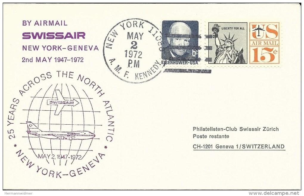 SF 72.4, Swissair, New York - Genève, ZSt Rouge-lilas, B-747, 1972 - Poste Aérienne