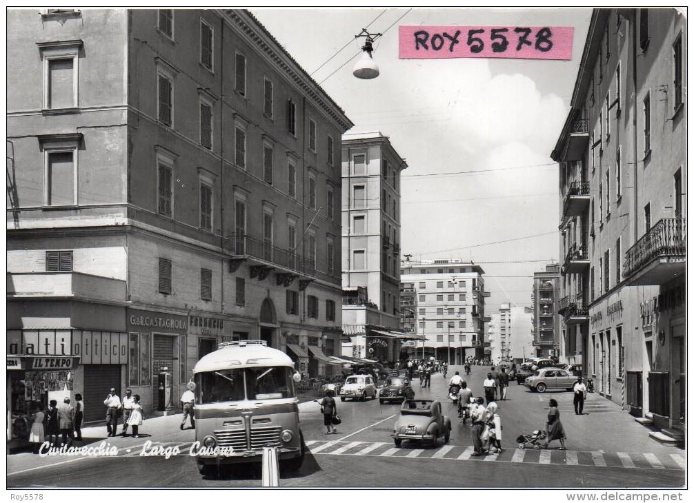 Lazio-civitavecchia Largo Cavour Veduta Partenza Auto Corriera Auto D'epoca Animatissima Anni/50 - Civitavecchia
