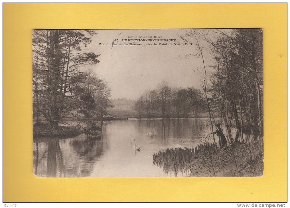 * CPA..dépt 02..LE NOUVION En THIERACHE  :  Vue Du  Lac Et Du Château  : Voir Les 2 Scans - Autres Communes