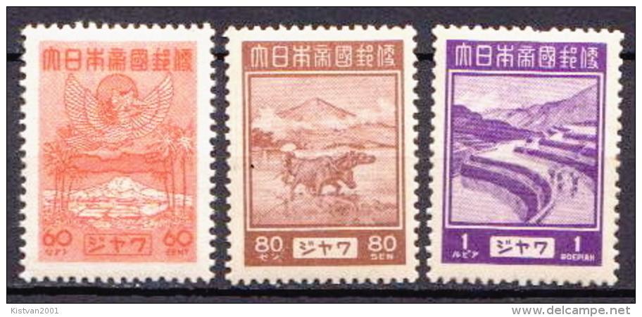 Japan Occupation In Netherlands Indies 3 MH Stamps, High Values - Nederlands-Indië
