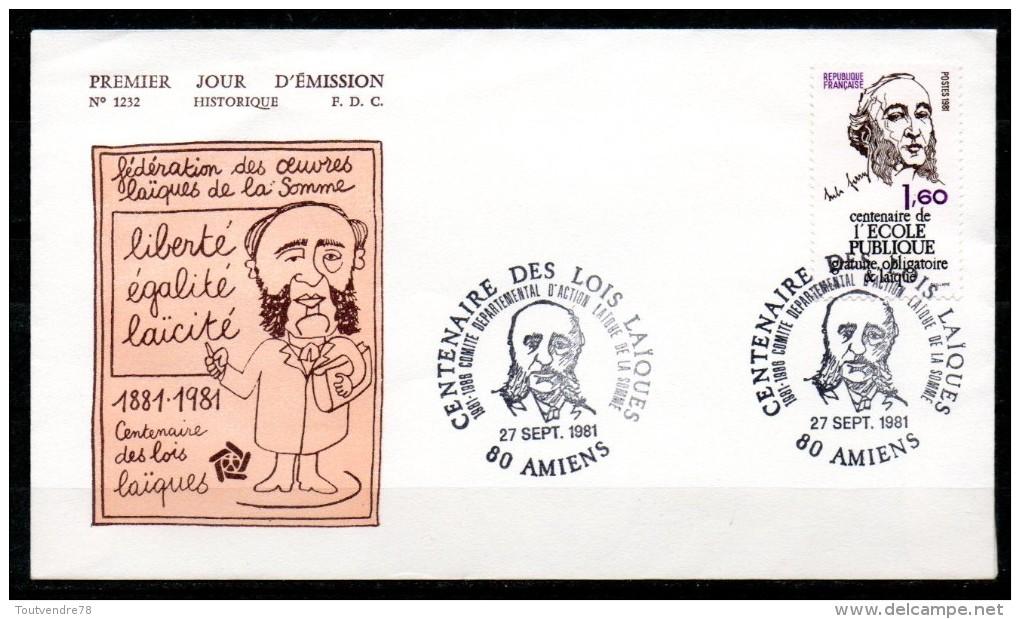 FDC Dept 80 (Somme) Centenaire Des Lois Laïques 1981 AMIENS - 1980-1989