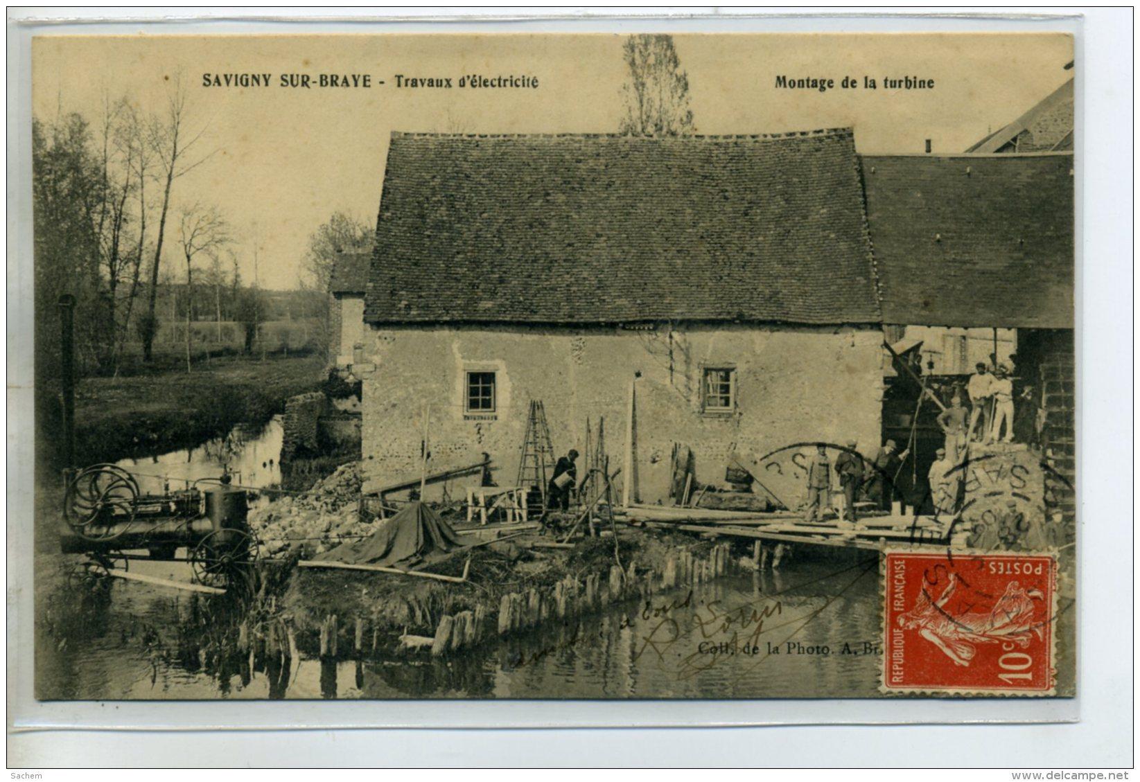 41 SAVIGNY Sur BRAYE Carte Rare Ouvriers Travaux D'electricité  MOULIN   Montage De La Turbine 1909  /D05-2015 - France
