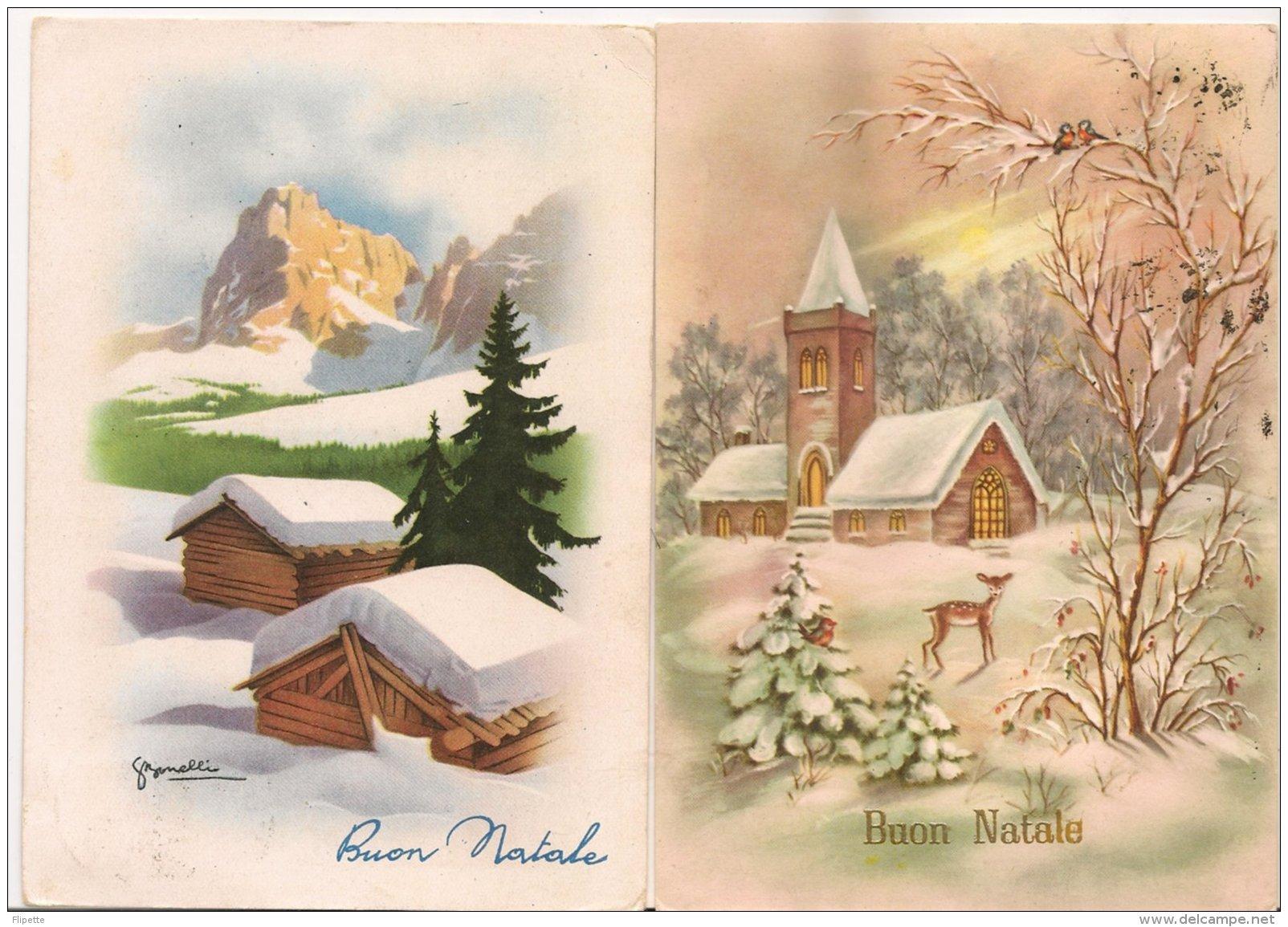 Ldiv.088.089 - Buon Natale - Joyeux Noël  - Lot De Deux  Cartes - Unclassified