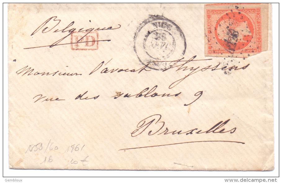 France N°16 Sur Lettre Oblitérée Nice 1861 - 1849-1876: Classic Period