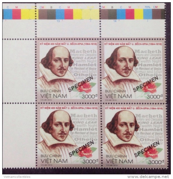 Block 4 Of Viet Nam MNH SPECIMEN Stamps: 400th Death Anniversary Of William Shakespeare (Ms1067) - Issued On 23 Apr 2016 - Vietnam