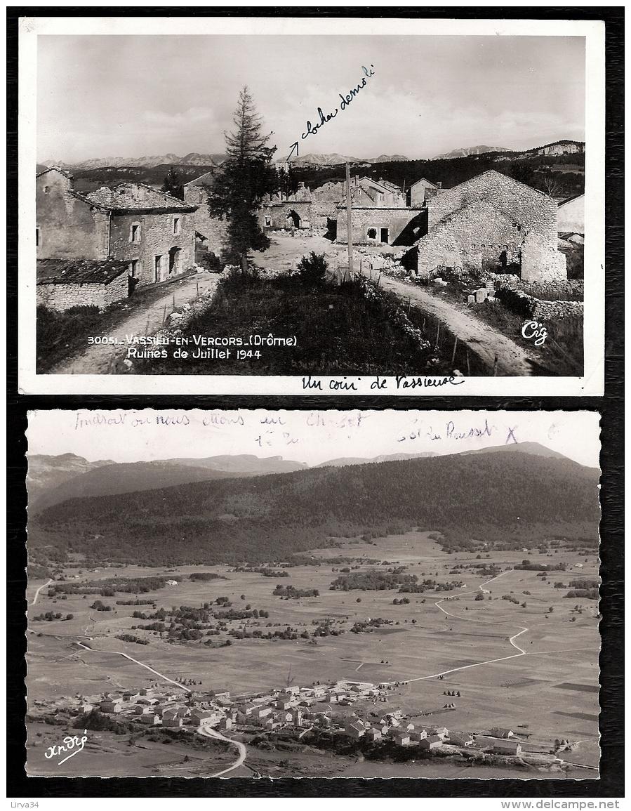 LOT 2 CPA-PHOTO- VASSIEU-EN-VERCORS(26)-  283 H.- RUINES DE JUILLET 1944 ET VILLAGE RECONSTRUIT VUE AÉRIENNE 1951- - Frankreich