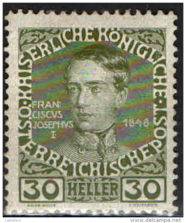 AUSTRIA - 1908 - IMPERATORE FRANCESCO GIUSEPPE NEL 1848 - NUOVO MH - Nuevos