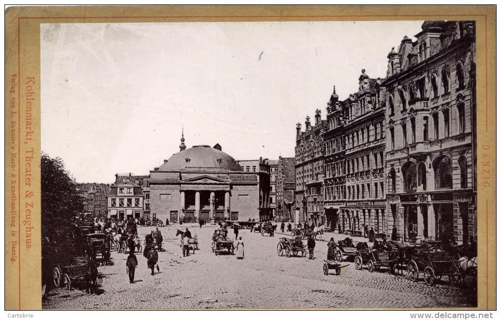 DANZIG Rare Photo 19è Siècle Kohlenmarkt Theater ,,Très Animée - Lieux