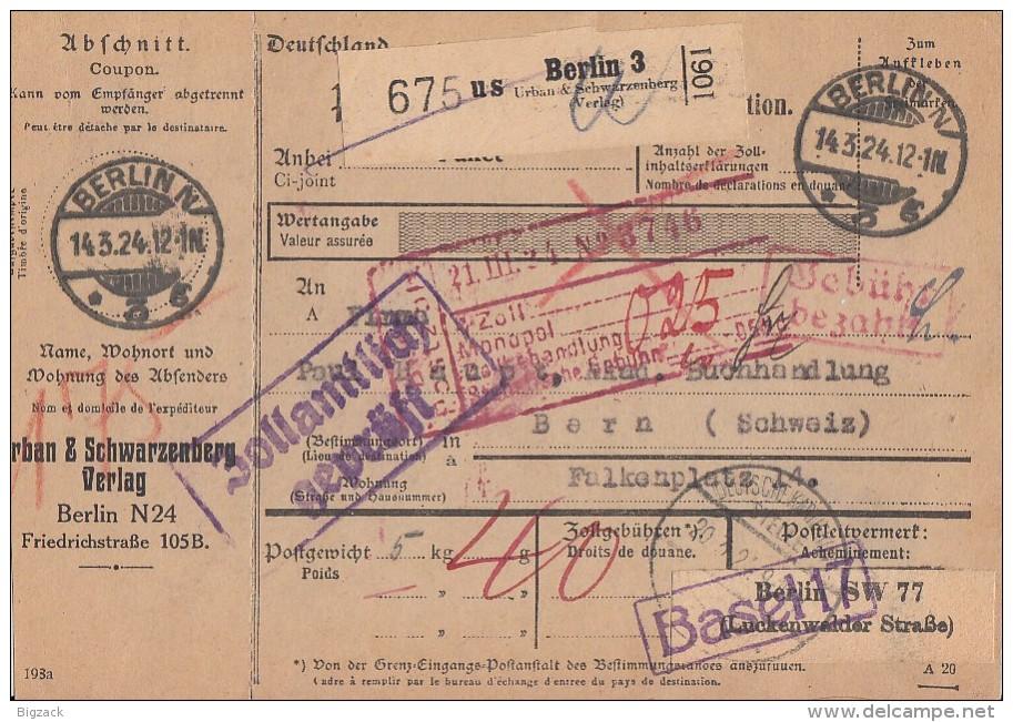DR Paketkarte Gebühr Bezahlt Berlin 14.3.24 Gel. In Schweiz - Briefe U. Dokumente