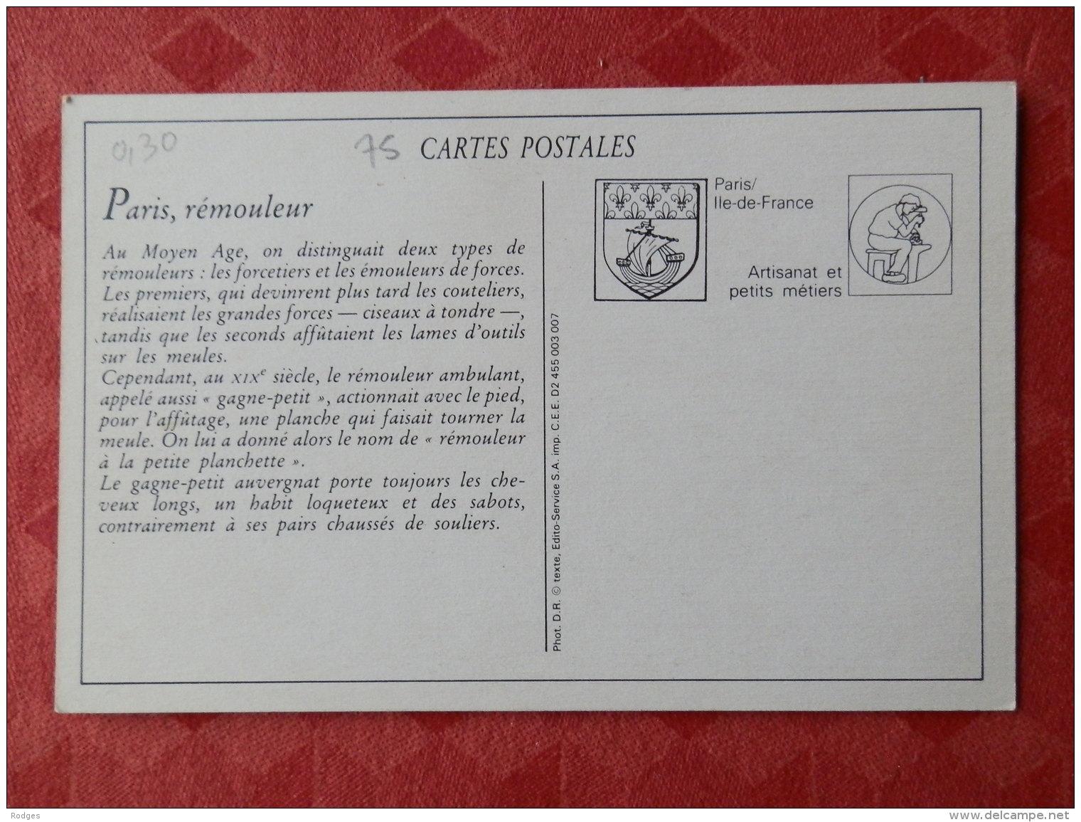 Dep 75 , Cp(repro) Les Petits Métiers De PARIS , 910 , Le Remouleur  (01.51) - Petits Métiers à Paris