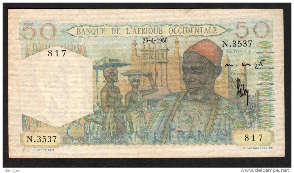 AFRIQUE OCCIDENTALE (French West Africa)  :  50 Francs  - P39 - 1944 - Circulated - Altri – Africa
