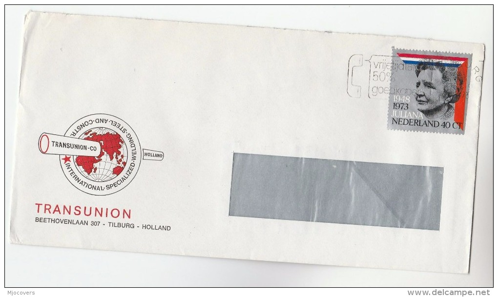 1973 NETHERLANDS Stamps COVER Illus ADVERT TRANSUNION STEEL WELDING Co - Period 1949-1980 (Juliana)
