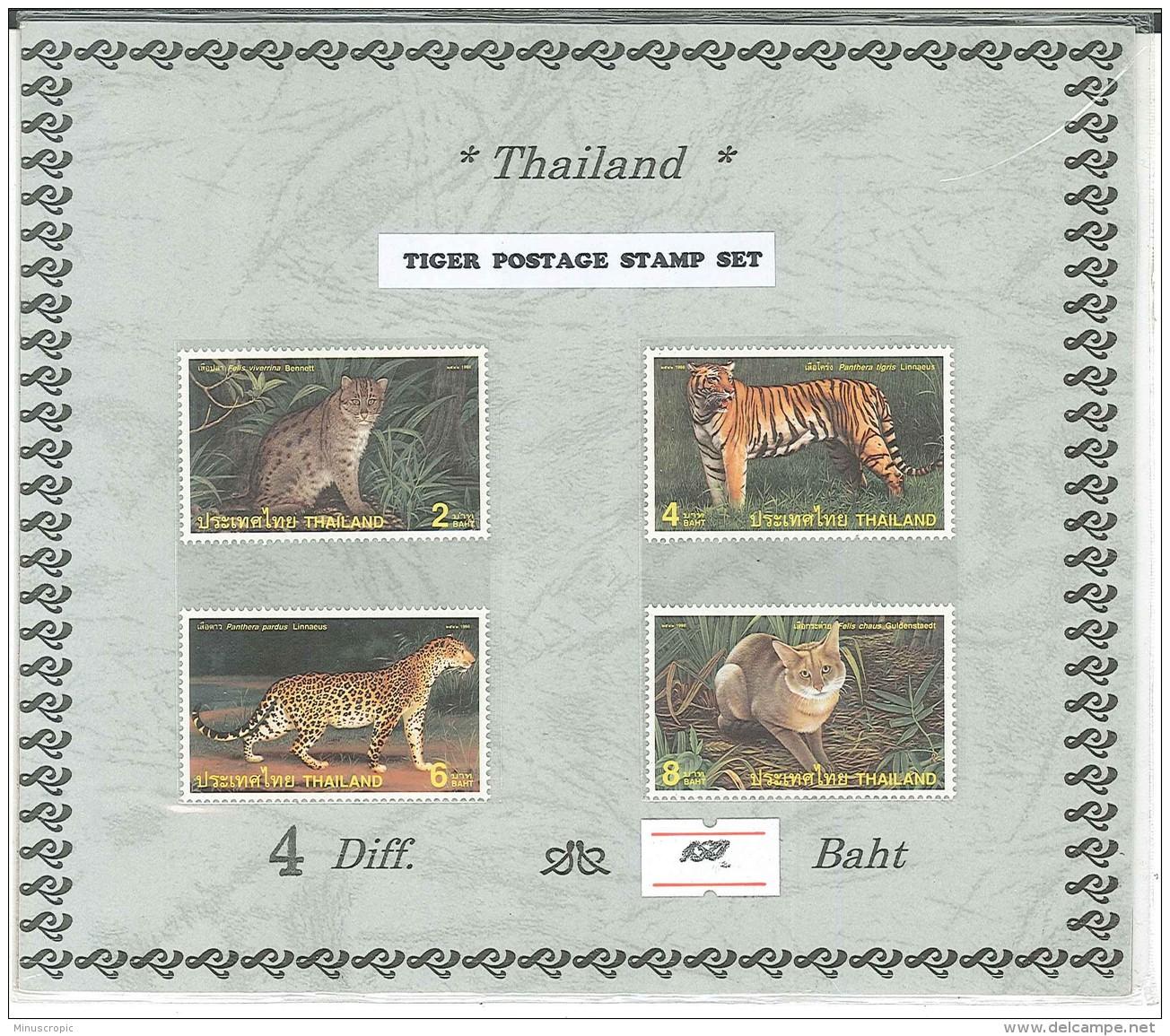 Thailande - Feuillet Avec 4 Timbres Tigres - Tiger Postage Stamp Set - Thailand