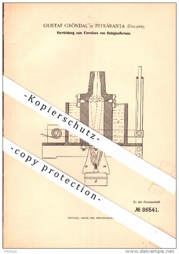 Original Patent - Gustaf Gröndal In Pitkäranta / Pitkjaranta , 1895 , Hohlglas , Glas , Russland , Finnland !! - Historische Dokumente
