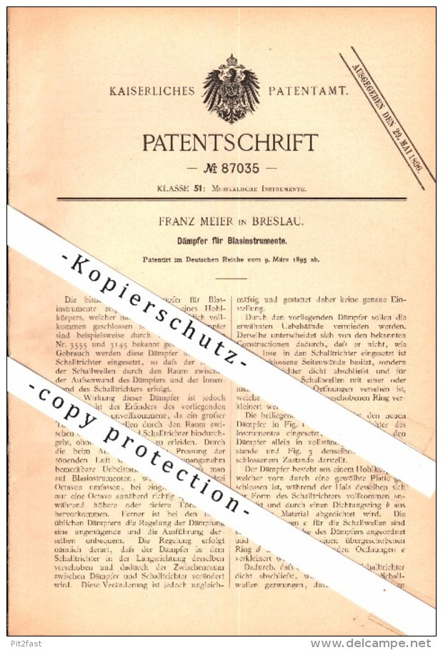 Original Patent - Franz Meier In Breslau , 1895 , Dämpfer Für Blasinstrumente , Trompete , Trumpet , Posaune , Tuba !!! - Musikinstrumente