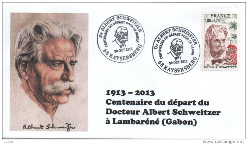 Cachet Temporaire Albert SCHWEITZER Expo KAYSERSBERG 100 Ans Départ Gabon 03 - Albert Schweitzer