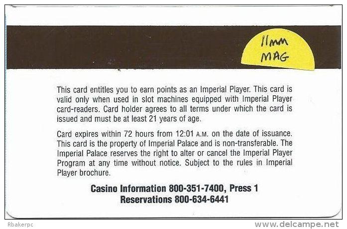 Imperial Palace Casino Las Vegas, NV - Temp Slot Card - No Mfg Mark On Back - 11m Mag Stripe - Casino Cards