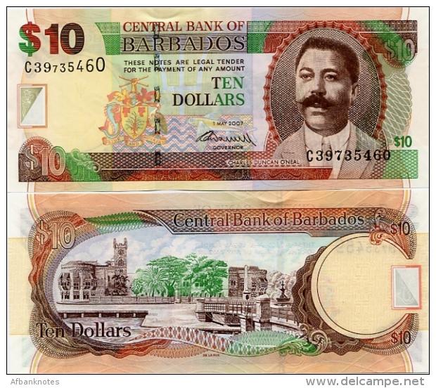 BARBADOS       10 Dollars       P-68b       1.5.2007 (2009)       UNC - Barbados