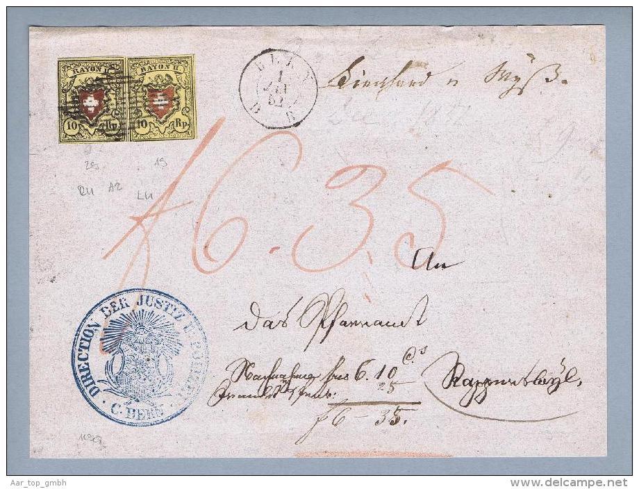 Schweiz RAYON 1852-01-01 Bern NN-Rayon-Vorders.Zu#16II T.29 A2-RU+Zu#16II T.19 A2-LU - 1843-1852 Timbres Cantonaux Et  Fédéraux