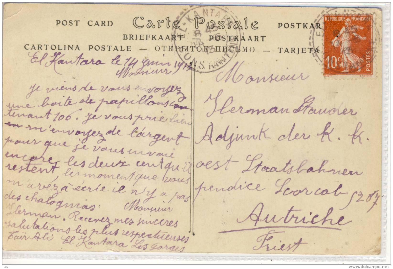 ALGERIE  EL KANTARA Les Gorges Biskra Province VOYAGE 1913 - France