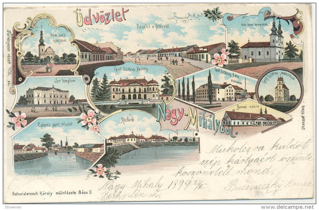 Nagy-Mihaly Synagogue, Sinagoga, Zsinagoga Judaika, Jewish - 100% Original Postcard Not Repro!!! - Hongrie