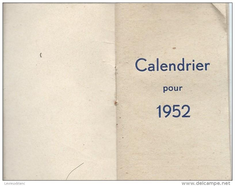Petit Calendrier De Poche/Café Restaurant/Vve Léaustic/Saint Pierre Brest /1952   CAL324 - Calendriers