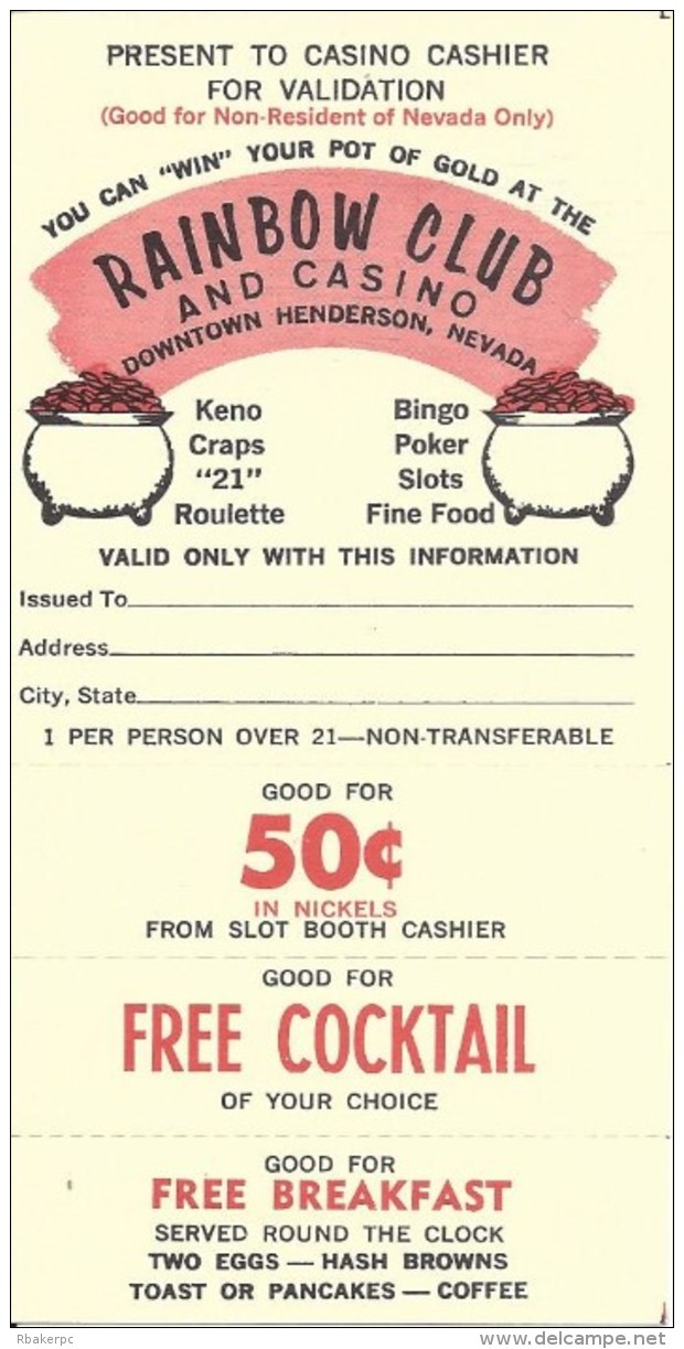 Old Paper Coupon From The Rainbow Club And Casino In Henderson, NV - Casino Cards