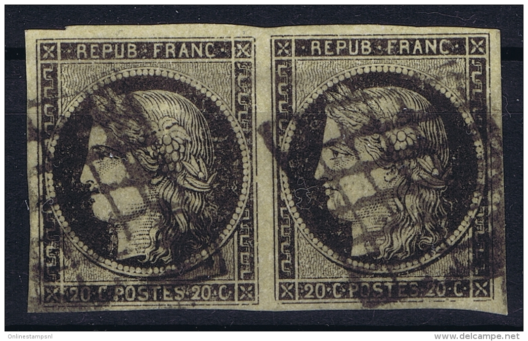 France:  Yvert 3b Chamois  Grille, 1849 - 1850  Bande - 1849-1850 Ceres