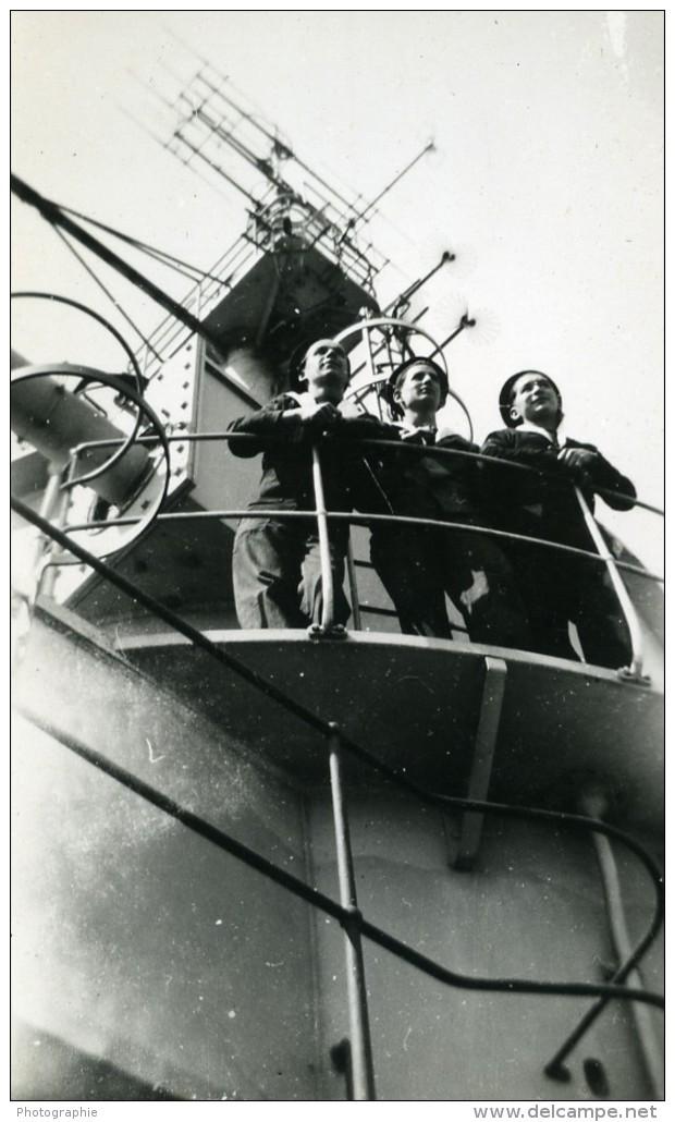 Egypte WWII Marine Militaire Francaise Cuirasse Canal De Suez Ancienne Photo Snapshot 1940 - War, Military