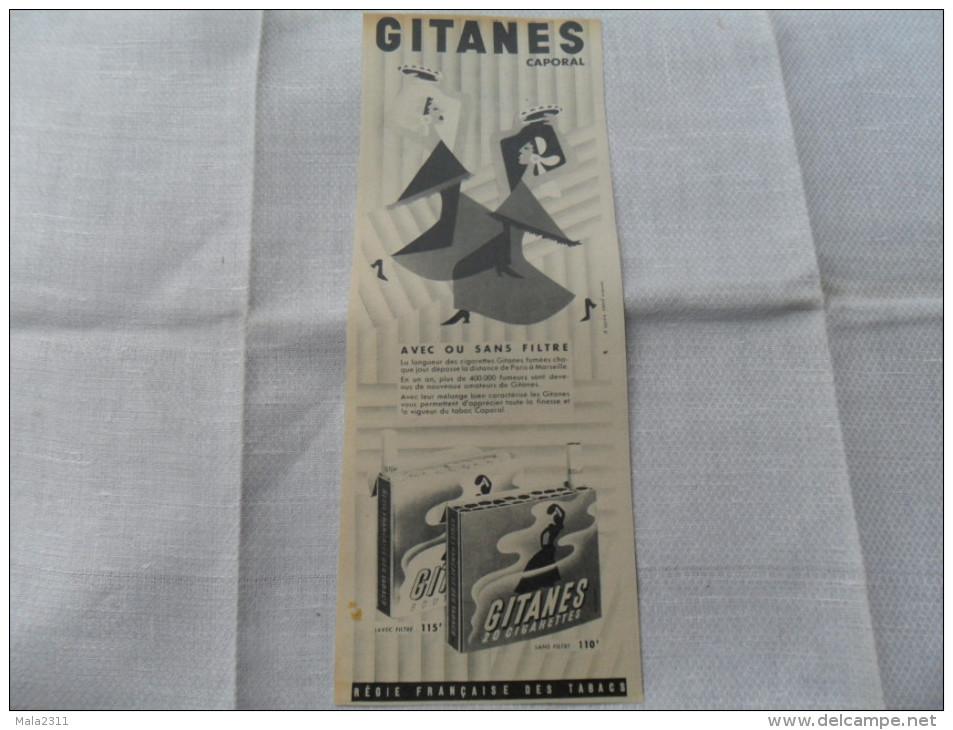 2 ANCIENNES PUB CIGARETTE GITANES  ANNEES 60 - Tabac (objets Liés)