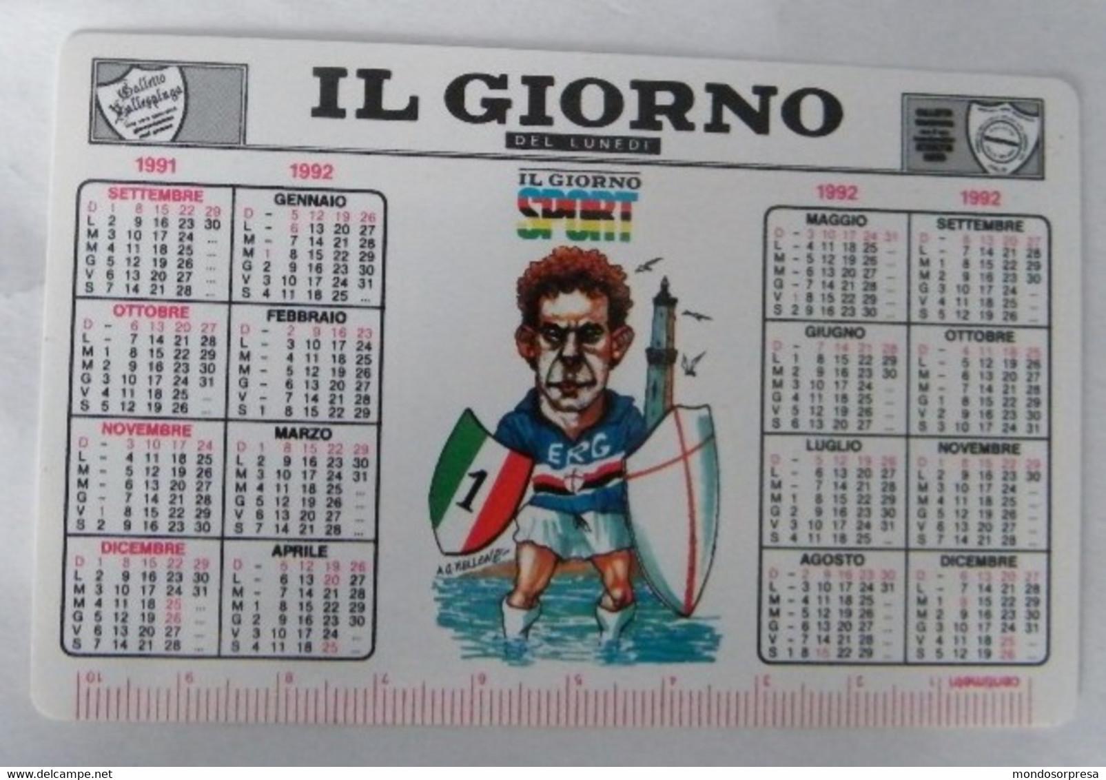 CALENDARIETTO, CALENDARIO TASCABILE, IL GIORNO CAMPIONATO DI CALCIO SERIE A  ANNO 1991/92 - Calendari