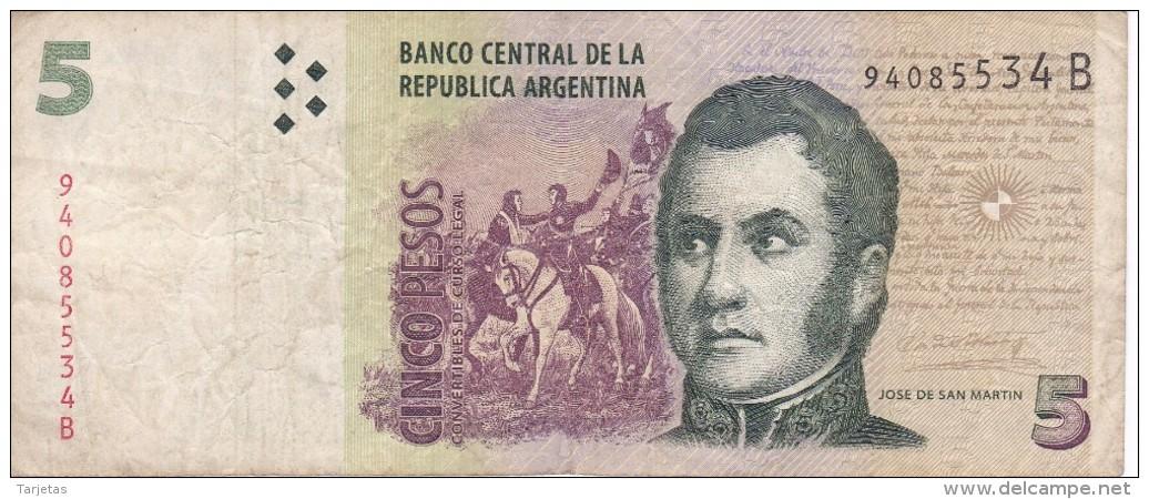 BILLETE DE ARGENTINA DE 5 PESOS CONVERTIBLES - JOSE DE SAN MARTIN (BANKNOTE) - Argentina