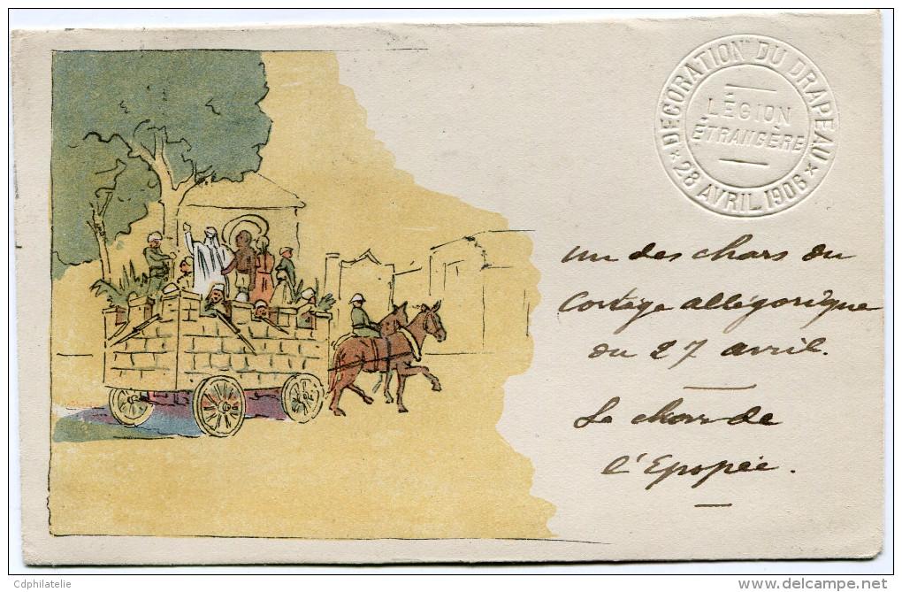 FRANCE CARTE DE LA LEGION ETRANGERE DEPART SIDI-BEL-ABBES 3-5-06 ORAN POUR LE TONKIN (RARE) - Marcophilie (Lettres)