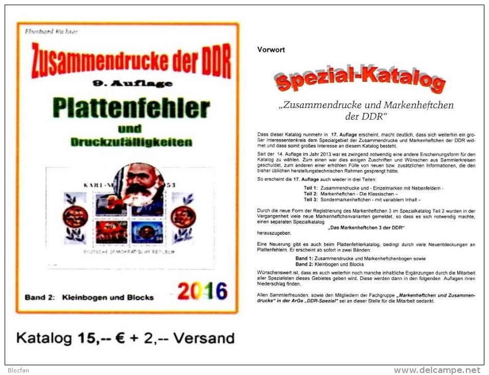DDR Part 5 Plattenfehler RICHTER 2016 PF In KB/ Blocks New 15€ Zusammendrucke Se-tenants Error Special Catalogue Germany - Audio Books