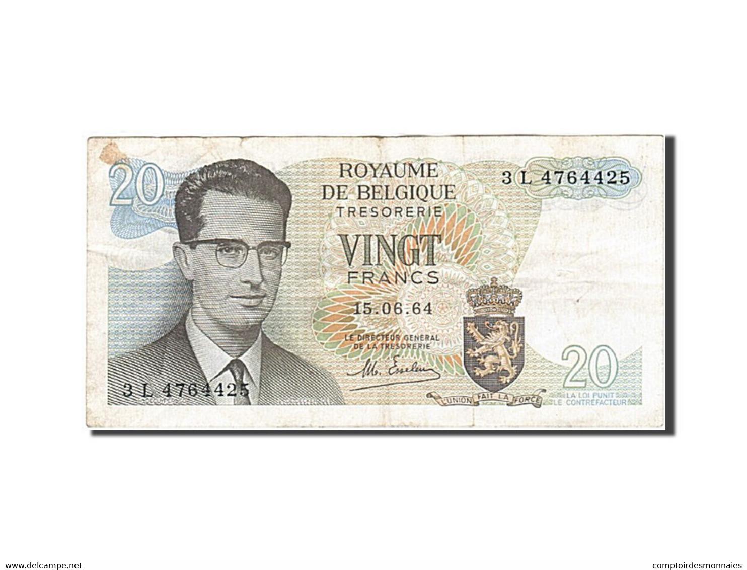 Belgique, 20 Francs, 1964-1966, KM:138, 1964-06-15, TB+ - [ 2] 1831-... : Reino De Bélgica