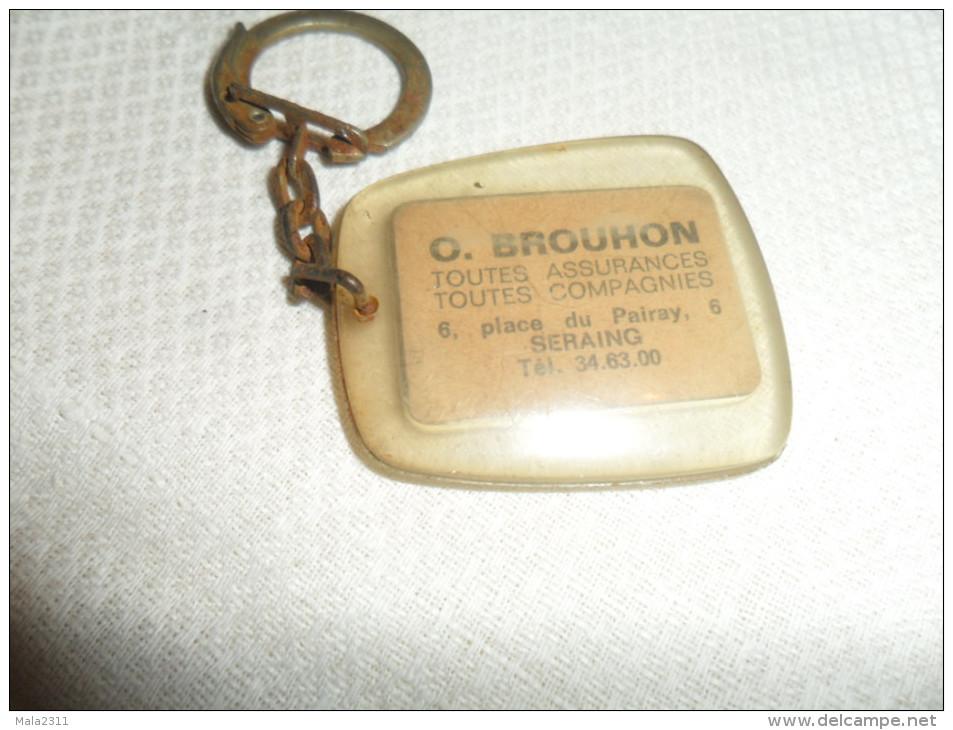 ANCIEN PORTE-CLE / PUB   COURTIER ASSURANCE  O.BROUHON  / SERAING - Porte-clefs