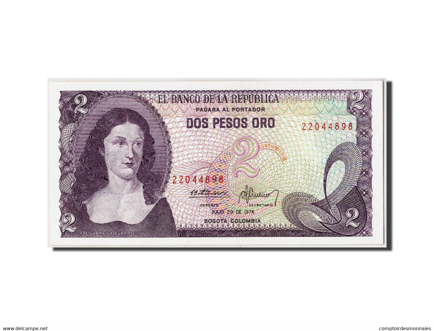 Colombie, 2 Pesos Oro, 1976, KM:413b, 1976-07-20, NEUF - Colombie