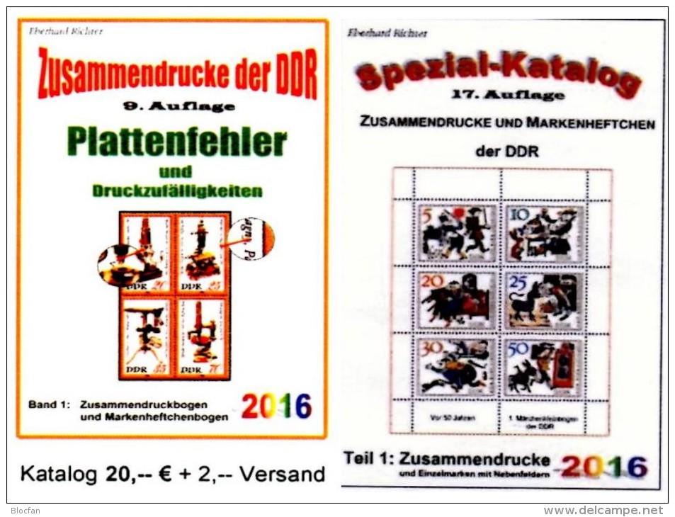 Alle Zusammendrucke+Abarten In Bogen-ZD DDR/GDR Teil 1+4 RICHTER 2016 Neu 45€ Se-tenants Error Special Catalogue Germany - Alemán