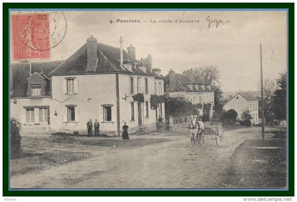 CPA Pourrain Route D' Auxerre Voy. 1906  Attelage Cheval Animée (pli HD Voir)  Scan Verso - Autres Communes