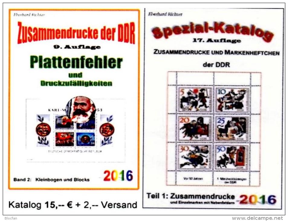 Zusammendrucke+Abarten Blocks/Kleinbogen DDR/GDR Teil 1+5 RICHTER 2016 Neu 40€ Se-tenant Error Special Catalogue Germany - German