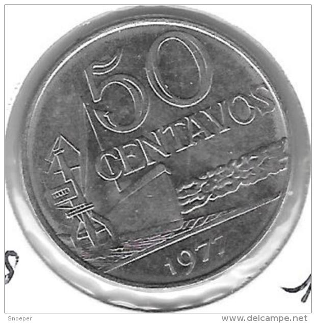 *brazil 50 Centavos 1977  Km 580b  Xf+ - Brésil