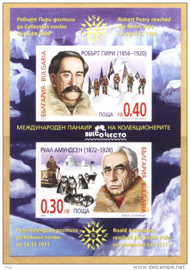 Lot BUL 1521SSt - Bulgaria 2015  - POLAR EXPLORERS S/S - Imperf. - Nuovi
