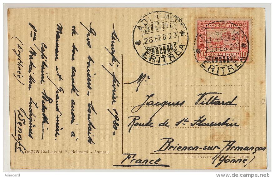 Asmara Scuole Elementari Governative Stamped And Used From Adi Keyh Senafé To Brienon Armançon Yonne 1920 - Erythrée